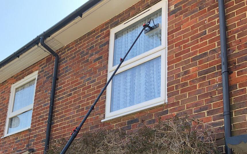Water-fed pole window cleaning in Croydon